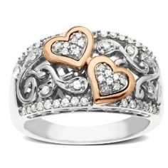 wedding rings finger , Sterling Silver and 14k Pink Gold, Diamond Hearts Ring ( 1/4 ct, I-J Color, I3 Clarity) REVIEW