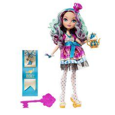 Ever After High Madeline Hatter Doll - Mattel The daughter of the Mad Hatter, Madeline Hatter doll shows off her cheery spirit in a brightly colored outfit with stripes and polka dots — and tea-rific accessories that include a teapot purse and headband with teacup. Plus, she comes with a bookmark that tells her hexclusive side of the story! Product Highlights