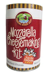 Roaring Brook Dairy Mozzarella Cheesemaking Kit. Includes everything but the milk! Thermometer, rennet, citric acid, cheese salt, and gloves. Comes with Illustrated easy to follow directions. Easy to use and fun to make.