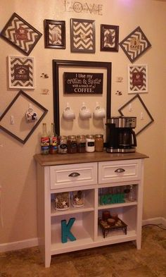 For those who desire a cappuccino, chai tea drink, or rich caramel latte in a homely atmosphere, you've found the right place in cafes. Coffee Bar Station, Coffee Station Kitchen, Coffee Bars In Kitchen, Coffee Bar Home, Home Coffee Stations, Coffee Room, Coffee Corner, Coffee Time, Cafe Bar
