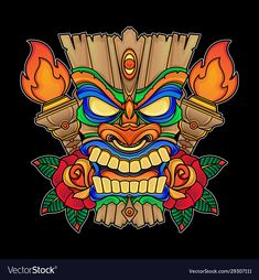 Holiday mask tiki vector image on VectorStock Tiki Tattoo, Tiki Hawaii, Hawaiian Tiki, Traditional Tattoo Vector, Tiki Maske, Tiki Faces, Tiki Head, Dope Cartoon Art, Tiki Totem