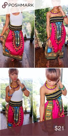2 in 1 dashiki off shoulder dress off shoulder dress can also be worn as skirt will fit women well Dresses Midi