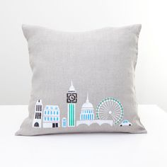 London city. Hand Printed  pillow on natural grey linen fabric for children's room - handmade pillow cushion cover, home decor