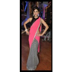 #Shilpa shetty #Party wear Saree Shop now : http://www.valehri.com/shilpa-shetty-in-manish-mallotra-designer-pink-half-n-half-saree-with-blouse