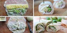 Recept voor wraps met ham, brie en ananas en voor wraps met gerookte kip, appel en honing-mosterdsaus.