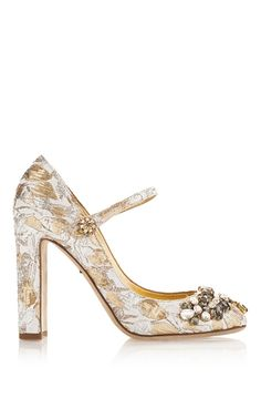 Silk Cotton Metallic Mary Jane Pumps with Crystal | Moda Operandi