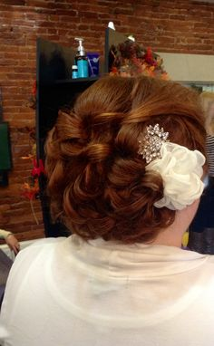 #wedding #bride #updo #curls #love #vibrant #red done by Lauren Then at #skippackstylekrafters