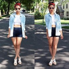 Mai Sunshine - Pacsun Chambray, H&M Crop Top, Forever 21 High Waisted Shorts, Bass Wedges - Rosie