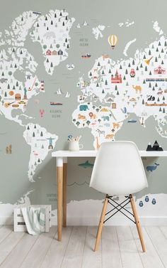 Invite stylish colour & cute illustrative design to your child's bedroom with this sage kids' map wallpaper, a cute mural. Bedroom Wallpaper Murals, Map Wallpaper, Kids Room Wallpaper, Wallpaper Designs, Green Kids Rooms, Sage Green Wallpaper, Boy Room, Decoration, Kids Bedroom
