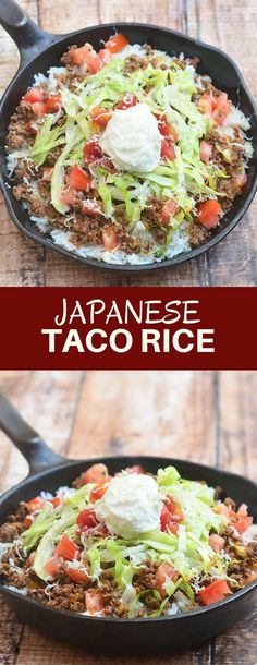 Taco rice is a Mexican-Japanese fusion take on the popular taco! Choice taco fillings over a bed of white rice makes a satisfying one-bowl lunch or dinner!