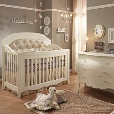 BEAUTIFUL baby room! LOVE the crib!! And neutral, would be easy to add boy/girl accents later!!