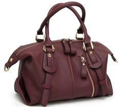 Buy Women Top Handle Barrel Bag Soft Leather Handbag Punk Purse Shoulder Duffel Satchel - Wine Red - and find your ideal Women Crossbody Bags at affordable prices and fast shipping. Fall Handbags, Prada Handbags, Luxury Handbags, Large Handbags, Fashion Handbags, Fashion Bags, Soft Leather Handbags, Leather Bags, Bags