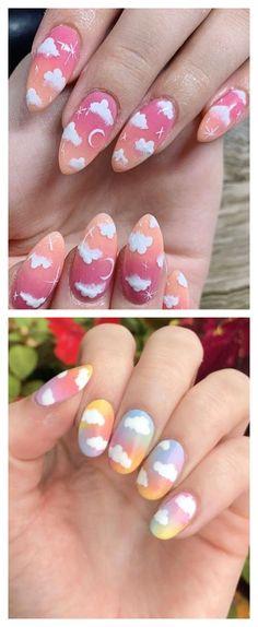 cloud nails, cute nails Dope Nails, Fun Nails, Pastel Pink Nails, Rainbow Nails, Best Acrylic Nails, Nail Games, Nail Trends, Trendy Nails, Summer Nails