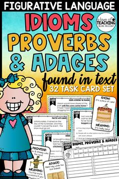 32 fun task cards to help students identify idioms, proverbs, and adages found in a text. These task cards include context clues that assist students in describing the meaning behind each idiom, proverb, and adage.