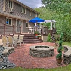 built in fire pit! Outdoor Living - Deck and Pergola - traditional - patio - boston - by GMT Home Designs Inc. Patio Pergola, Deck Landscaping, Gazebo, Backyard Patio, Pavers Patio, Pergola Ideas, Pergola Kits, Patio Wall, Patio Stone