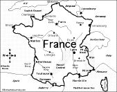 France Blank Printable map with Provinces, royalty free