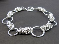 Chain Maille Bracelet, Soldered Rings, Byzantine Chain Mail, Sterling Silver Bracelet