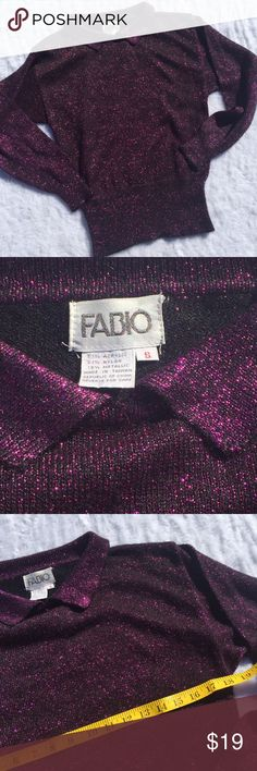 Vtg 80s style Fabio metallic small collared top Great condition. Vintage Tops Blouses