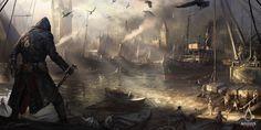 Assassin's Creed: Syndicate Westminster River, Darek Zabrocki on ArtStation at https://www.artstation.com/artwork/9BQ0y