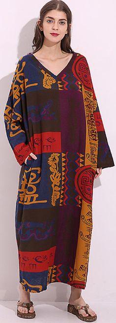 US$27.99 Casual Women Tribe Totem Print Long Sleeve Loose Maxi Dress