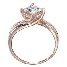 Stella Princess cut Engagement Ring in Rose Gold