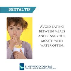 Avoid eating between meals and rinse your mouth with water often. # dentaltips