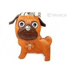 Pug Handmade Leather Dog/Bag Charm