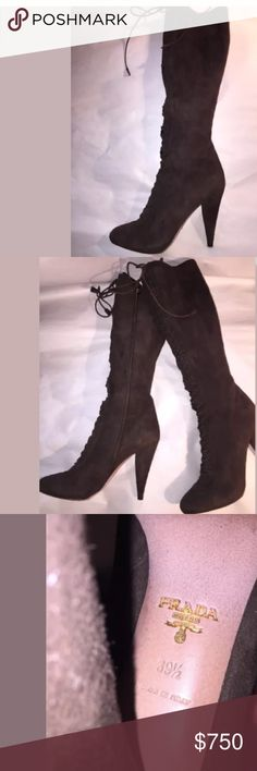 PRADA size 38 1/2 Italy BROWN SUEDE lace up BOOTS PRADA chocolate brown suede lace up high heel boots with side zipper for easy on/off.  Beautiful condition.  RETAIL $1800 Prada Shoes Heeled Boots