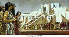 Painting of Sumerian people bringing a gilded statue to their temple. - Stock…