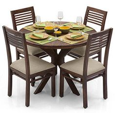 Liana - Zella 4 Seater Dining Table Set (Teak Finish, Wheat Brown)