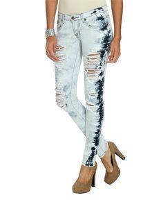 Bleach Destroyed Skinny Jean - Teen Clothing by Wet Seal