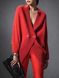 Wool Colour Block Batwing Cardigan