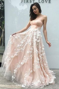 Princess A-Line Sweetheart Blush Pink Tulle Long Prom Dress with Flowers Blush Prom Dress, Prom Dresses, Sleeveless Prom Dress, Pink Prom Dress, Long Prom Dress Prom Dresses 2020 Blush Pink Prom Dresses, Strapless Prom Dresses, Unique Prom Dresses, A Line Prom Dresses, Tulle Prom Dress, Homecoming Dresses, Beautiful Dresses, Pink Tulle, Party Dresses