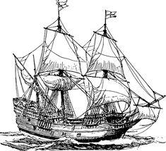 Boat Vector, Ship Vector, Ship Drawing, Line Drawing, Images Pirates, Bateau Pirate, Sailboat Art, Sailing Ships, Sailing Boat