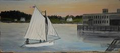 vintage Greenville Maine oil painting of sail boat lake