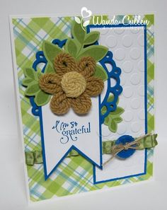 When I saw the Color Challenge on SCS , I squealed with joy when I saw that Peggy had chosen Pacific Point, Crumb Cake and Certainly Cel. Yarn Flowers, Challenges, Paper Crafts, Joy, Inspiration, Color, Cards, Biblical Inspiration, Tissue Paper Crafts