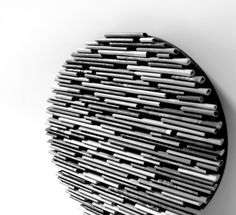 black and white round wall art- made from recycled magazines, unique 6 inch circle