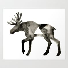 Geometric Moose Art Print by GeometricInk - $16.00