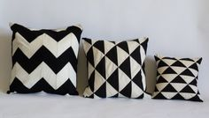 Geometric patchwork black and white pillow cover / case (12X12 inches). $25.00, via Etsy.