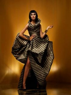 Black and gold dramatic long dress