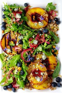 Grilled Peach Salad, Mable Bourbon Dressing | Taste With The Eyes