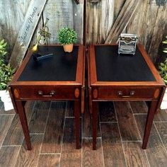 Yes, You Can Paint The Leather Drop Side Vintage Tables #justthewoods