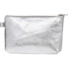 Barbara Wiggins Silver Metallic Leather Coin Purse (£16) ❤ liked on Polyvore featuring bags, wallets, coin wallet, metallic wallet, leather coin pouch, real leather wallet and leather bags