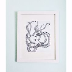 Pen and ink octopus from: https://www.etsy.com/listing/244927915/black-and-white-octopus