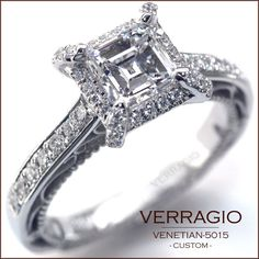 Verragio Engagement Ring Princess Cut w/ Diamond Halo