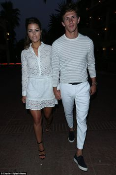 Coordinated: Chloe Lewis and Jake Hall both looked great in white clothing.