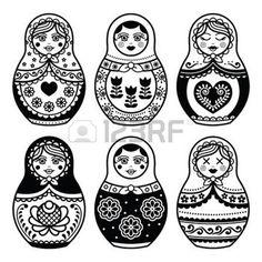poupee russe: Matriochka, icônes de poupées russes définies Illustration