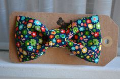 Navy Blue Country Flowers dog bow tie fits cat and by GymboHannah, $12.00