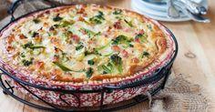 Recette de Quiche sans pâte allégée jambon et brocolis au chèvre. Facile et rapide à réaliser, goûteuse et diététique.