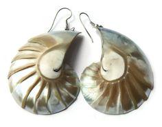 SOLD. Vintage 1980s shell dangle earrings, mother of pearl, nacreous earrings, hook earrings for pierced ears, seaside beach jewellery.    https://www.etsy.com/listing/238410682/vintage-1980s-shell-dangle-earrings